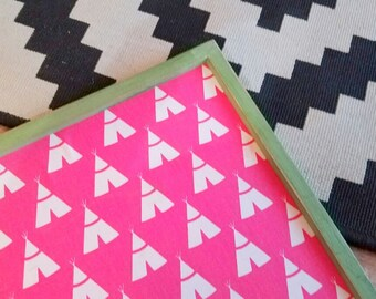 READY TO SHIP Framed Pin Board ~ Hot Pink Tee Pee Fabric Memo Board ~ Girls Room Bulletin Board ~ 16 x 20