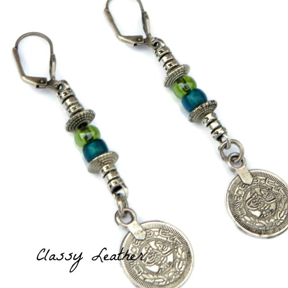 Boho Earrings, coin Earrings, bohemian Dangle Earrings, boho chic Earrings, leather earring, coin dangle earrings, women accessory