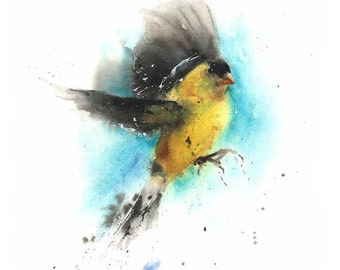 GOLDFINCH WATERCOLOR PAINTING - finch painting, yellow bird painting, goldfinch painting, original painting, bird portrait, watercolor bird