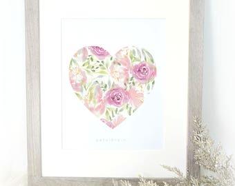 Fleurs Je t'aime Watercolor Print