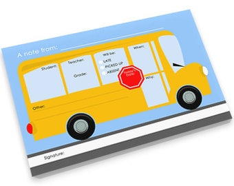 School Bus Note Pad - Blank or Personalized Pad