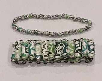 Green and Teal Paper Bead Bracelet Set