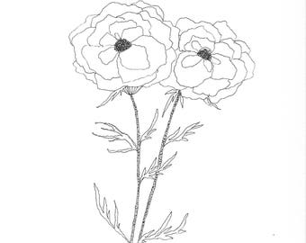 Floral Coloring Page Download