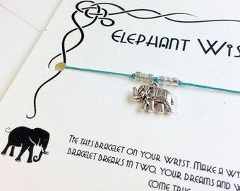 Elephant Bracelet Elephant Jewelry Elephant Gifts For Women Friendship Bracelet Friend Wish Bracelet Silver Elephant Charm Lucky Elephant