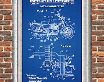 Motorcycle blueprint etsy honda motorcycle patent print honda poster vintage motorcycle motorbike decor japanese motorcycle malvernweather Image collections
