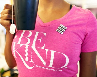 Be Kind V-Neck Fitted Womens Tee