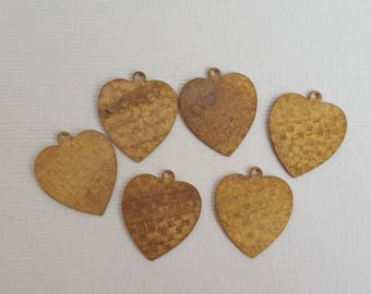 Vintage brass textured heart charms