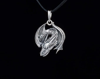 Smaug Dragon Pendant, Lord of the Rings, sterling silver, handmade
