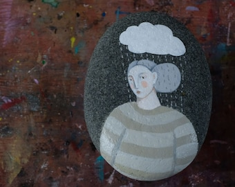 Raindrops Keep Falling on my Head, painted stone, original and functional art, painting, paperweight
