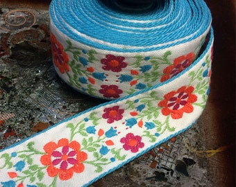 """Floral Multi Colored Print on White with Blue Edges - Embroidered Cotton Jacquard Ribbon - 2"""" Wide, Vintage"""