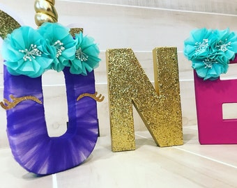 Purple pink gold unicorn birthday party letters ONE