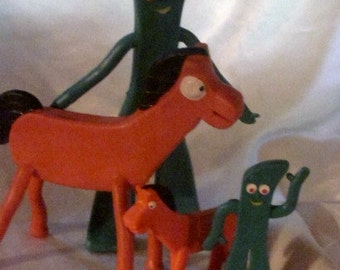 GUMBY&POKEY, 4 Gumby-Pokey Bendies,2 sets of Gumby and Pokey Rubber Toys,Pokey Pony and Gumby Claymation Figures,TV Gumby and Pokey Toys