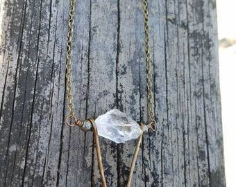 Quartz + Hammered Brass Necklace