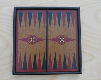 Primitive Wood Backgammon Game Board Folk Art Miniature Limited Edition Gameboard