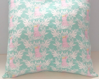16x16 Baby Princess Bunnies with Crowns  Pillow Cover for Bedroom, Nursery, Game Room, Kids Reading Area, or Gift