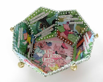 Paper Basket, Vintage Little Golden Book, Walt Disney, The Three Little Pigs