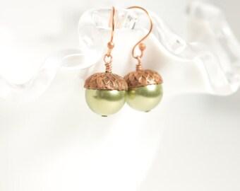 Acorn Earrings , Fall earrings , Swarovski Pearl earrings , Big Swarovski Pearls earrings , Nature jewelry