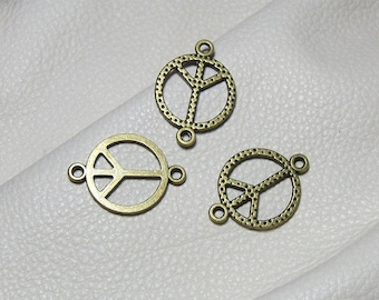 """20 charms connectors """"peace"""" brass size 17mm x 24mm"""