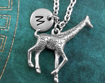 Giraffe Necklace, Personalized Necklace, Silver Giraffe Pendant, Safari Animal Jewelry, Giraffe Gift, Monogram Necklace, Charm Necklace