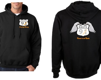 Vegas Strong Route 91 Country Strong with orange Ribbon Heavy Blend Adult Hooded Sweatshirt KhTFI