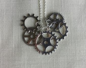 Steampunk Gear Necklace, Steampunk Jewelry, Gear Jewelry, steampunk wedding, industrial jewelry