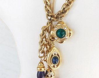 Vintage Gold Multi-Color Cabochon Charm Layered Necklace