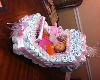 Elegant Diaper Stroller/ Original Design as Baby Shower/ Centerpiece or gift/ Perfect Gift for Baby Shower/ Original Centerpiece.