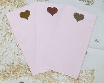 Foil heart on large size pink paper napkins with the look and feel of linen (Pack of 20)