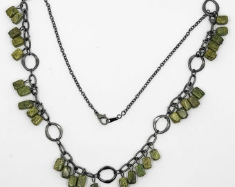"24"" Russian serpentine gunmetal necklace"