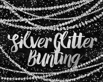 Silver Bunting Clip Art / Digital Bunting / Glitter Clipart / Silver Glitter Bunting Clipart / Silver Graphics / Metallic Digital Border