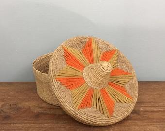 Wicker Sombrero Lidded Basket With Embroidered Details - Boho Jungalow Vintage Home Decor