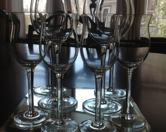 Vintage Crystal Tulip Wine Glasses and Cordials - 4 each
