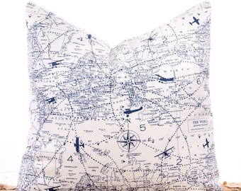 """SALE ENDS SOON Navy Blue Pillow Covers, Throw Pillows, Pillow Slipcovers, Cushions, Sofa Pillows, Nautical Map, 20 x 20"""""""