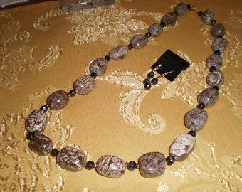 Polished Brown Snowflake Jasper Necklace Set