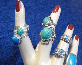 Ring Solid Sterling Silver 925 Turquoise and coral