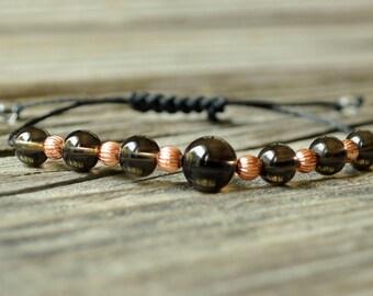 Smoky Quartz Yoga Bracelet, Copper Bracelet, Crystal Healing Bracelet, Meditation Bracelet, Depression, Base Chakra, Solar Plexus Chakra