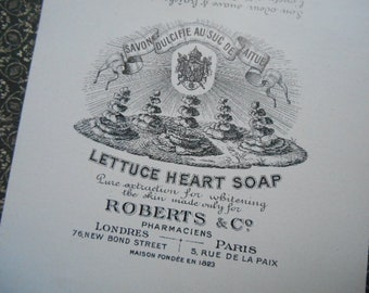 1800s Rare Robert's & Co. Lettuce Heart Soap Label NOS Paris France