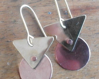 Copper and brass Deco earrings with rivet