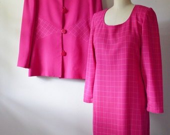 Vintage Travilla PINK Dress and Jacket 1970s Summer Suit Couture Quality Dress with Matching Jacket by Travilla Size 10 Medium