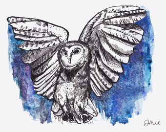 Watercolor Owl PRINT, 8x10, Matte