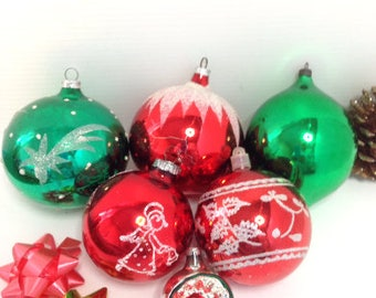 Vintage Christmas Decorations, Glass Baubles, Hand Painted Glass, Red and Green, Christmas Tree Decorations, c1960s, Tree Toppers,
