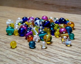 Multicolored Round Glass Beads 6 & 4 mm Beads Mixture .50oz/16g Pack