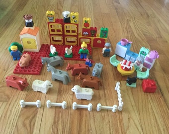 Vintage duplo LEGO toy farm animals kitchen building boy girl toddler game  learning game pretend play