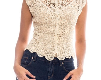 Victorian Irish Crochet Lace Top Size: