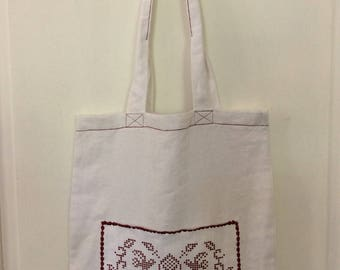 Bag tote bag with outside pocket 100% linen