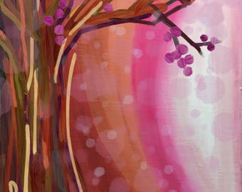 First Snowfall - pinks, Digital painting, download only, tree with berries, snowing
