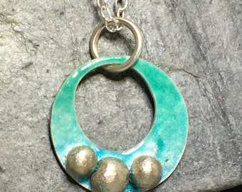 Circle enamel pendant - Rock pool necklace - sea blue - sea inspired - sea green - sterling silver circle necklace  - hand made in Cornwall