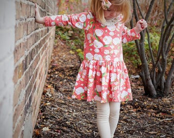Girls longsleeve dress - spring clothes for girls - toddler girls spring dress  - girls spring clothes  - longsleeve dress for girls