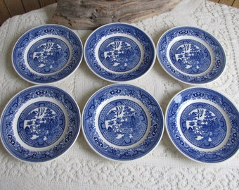 Blue Willow Bread Plates Set of Six (6) Vintage Dinnerware and Replacements