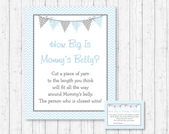 How Big Is Mommy's Belly Game / Chevron Baby Shower / Blue & Grey / Belly Guessing Game / Printable INSTANT DOWNLOAD A218